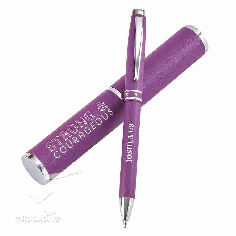 Ballpoint Hologram Pen: Strong & Courageous, Purple/Gold Stationery