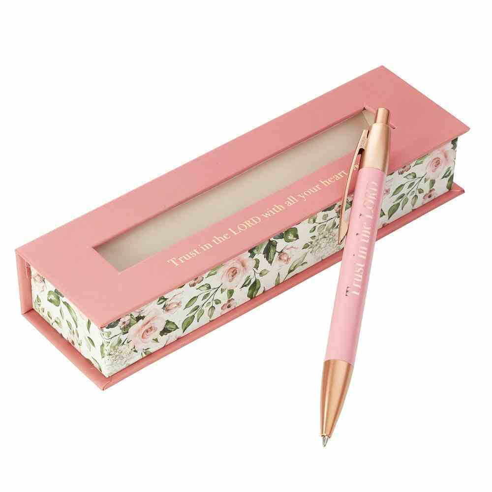 Ballpoint Pen in Gift Box: Trust in the Lord, Pink Floral (Proverbs 3:5) Stationery
