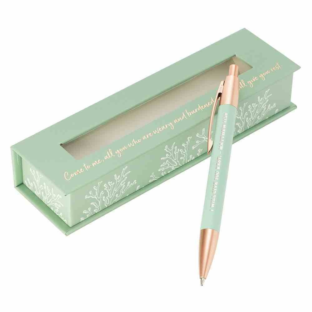 Ballpoint Pen in Gift Box: Give You Rest Collection, Blue/White (Matthew 11:28) Stationery