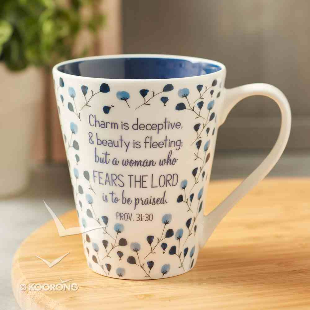 Ceramic Mug: Proverbs 31:30 Collection, Blue/Floral (414ml) Homeware