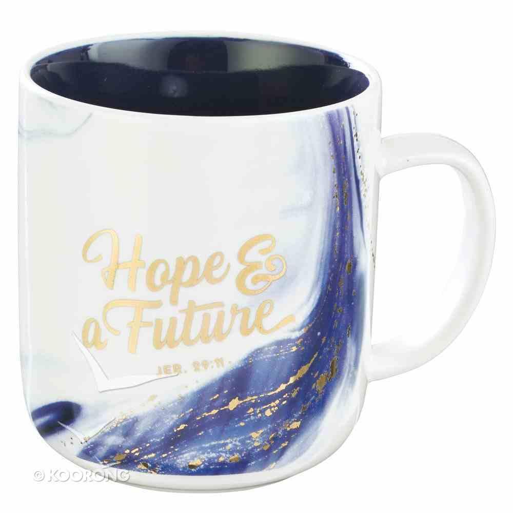 Ceramic Mug: Hope & a Future, Blue/White Marble/Gold Etching (Jer 29:11) (355ml) Homeware