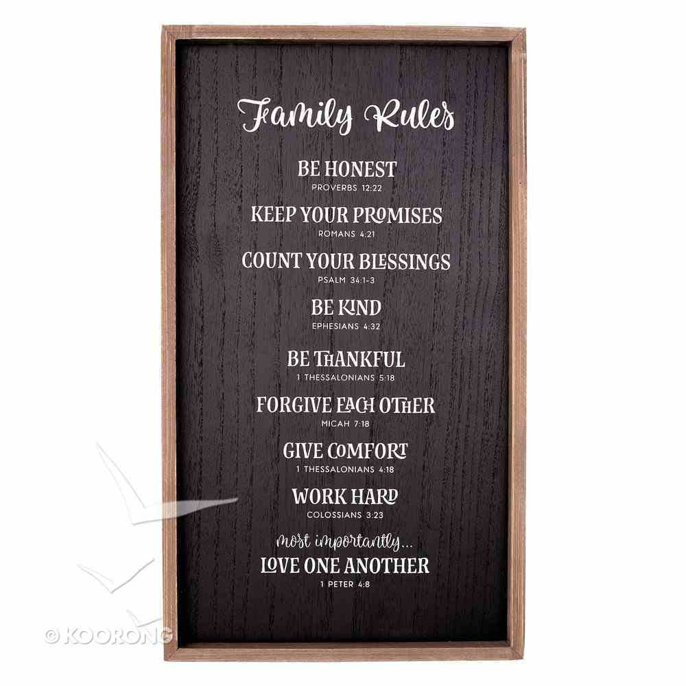 Wall Plaque: Family Rules, Black/White/Brown (Mdf) Plaque