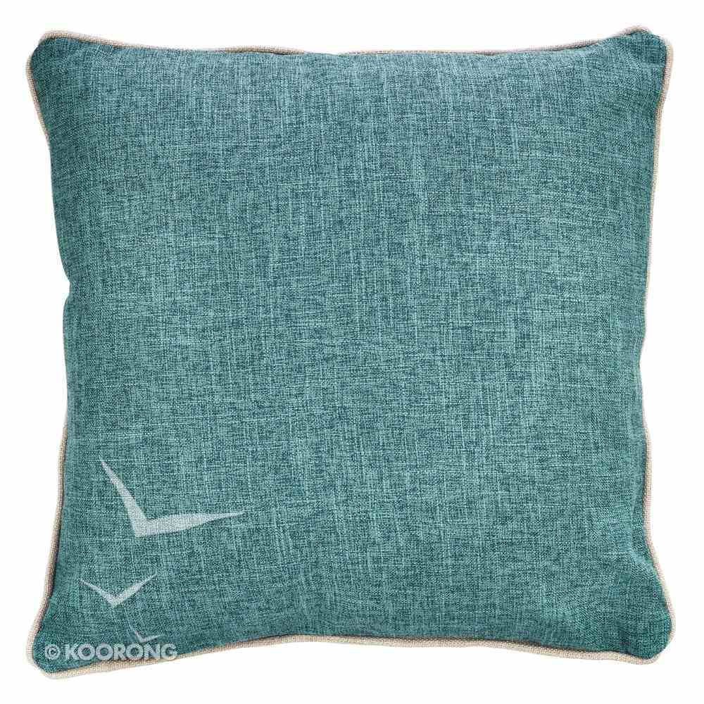 Square Pillow: Amazing Grace, How Sweet the Sound, Turquoise/White Linen Soft Goods