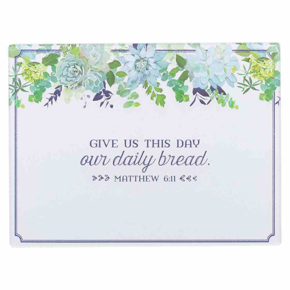 Large Glass Cutting Board: Our Daily Bread Blue Floral (Mat 6:11) (Our Daily Bread Collection) Homeware