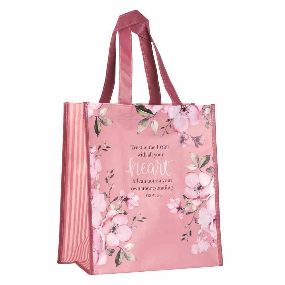 Non-Woven Tote Bag: Trust in the Lord, Pink Floral (Proverbs 3:5) Soft Goods