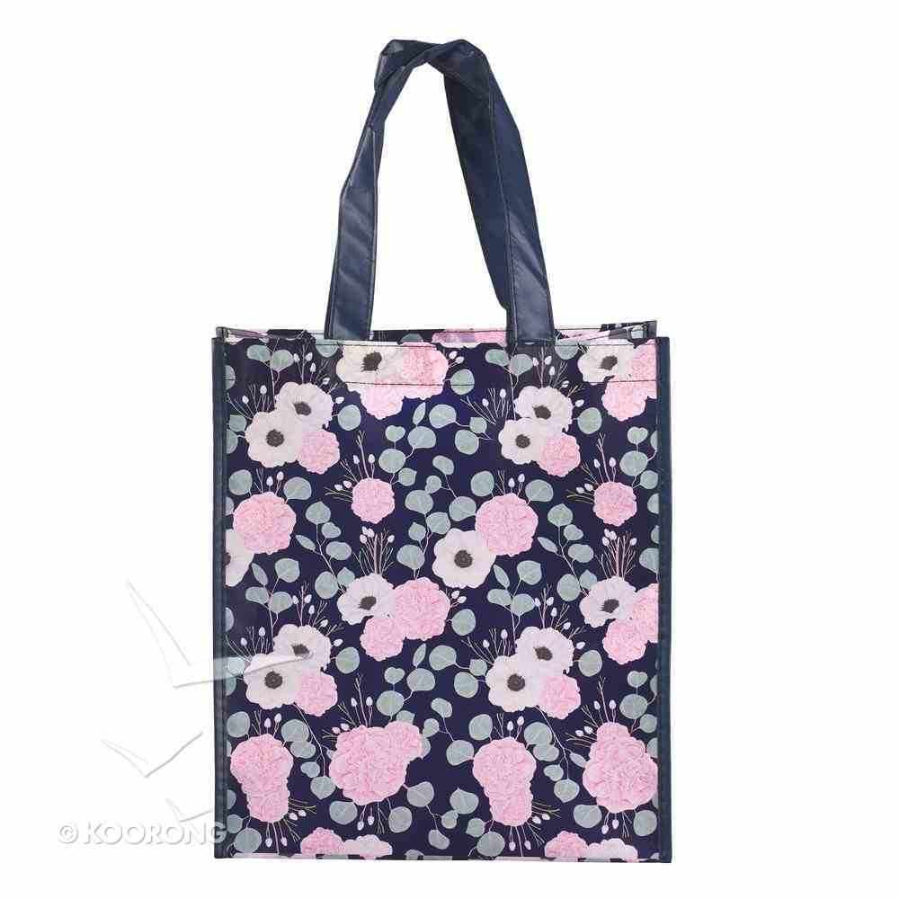 Non-Woven Tote Bag: Be Still & Know, Navy/Floral (Psalm 46:10) Soft Goods