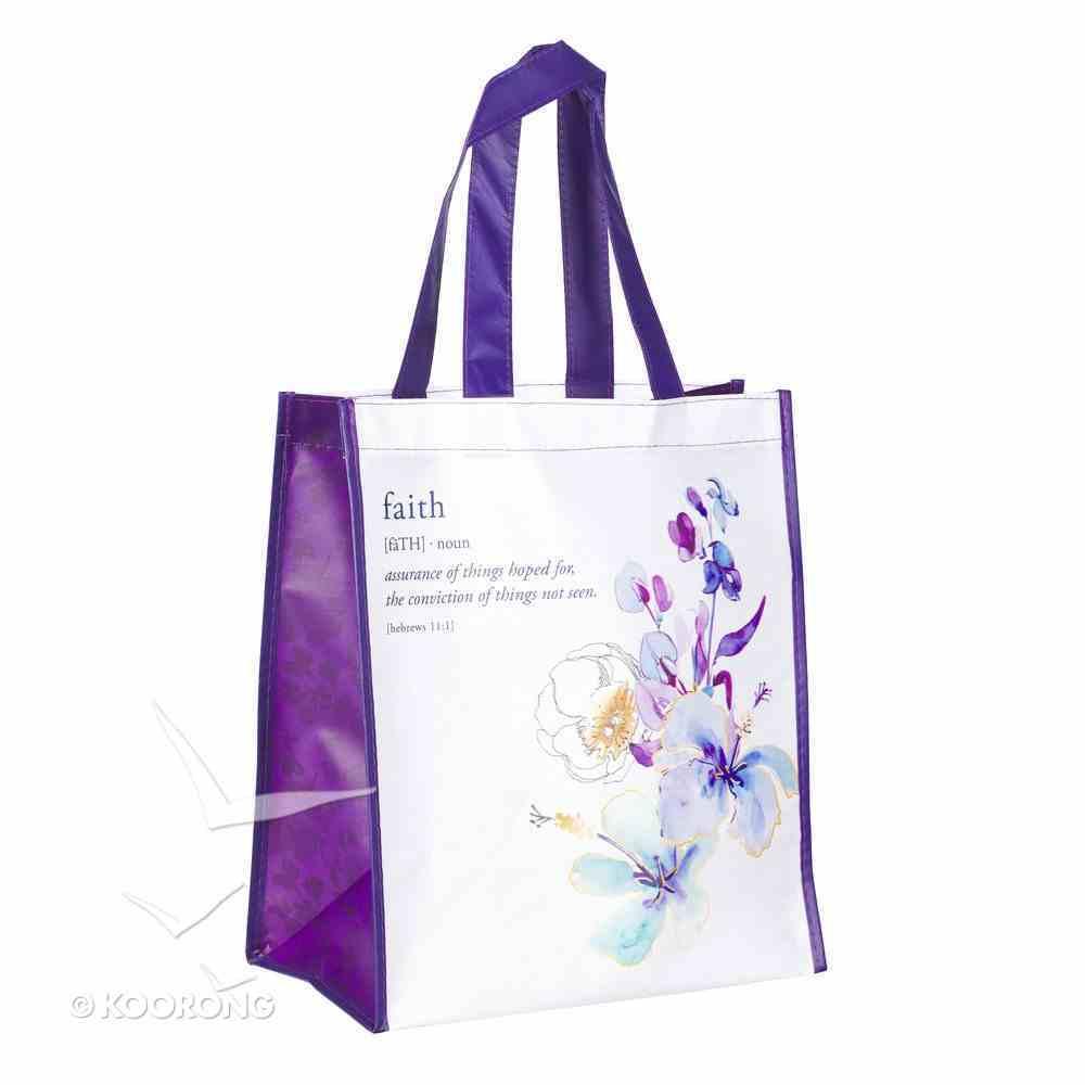 Non-Woven Tote Bag: Faith, Blue Floral (Hebrews 11:1) Soft Goods