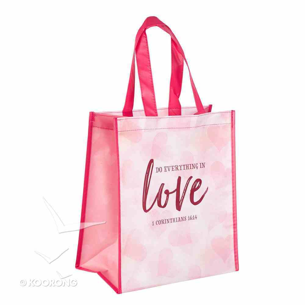 Non-Woven Tote Bag: Do Everything in Love, Pink (1 Cor 16:14) Soft Goods