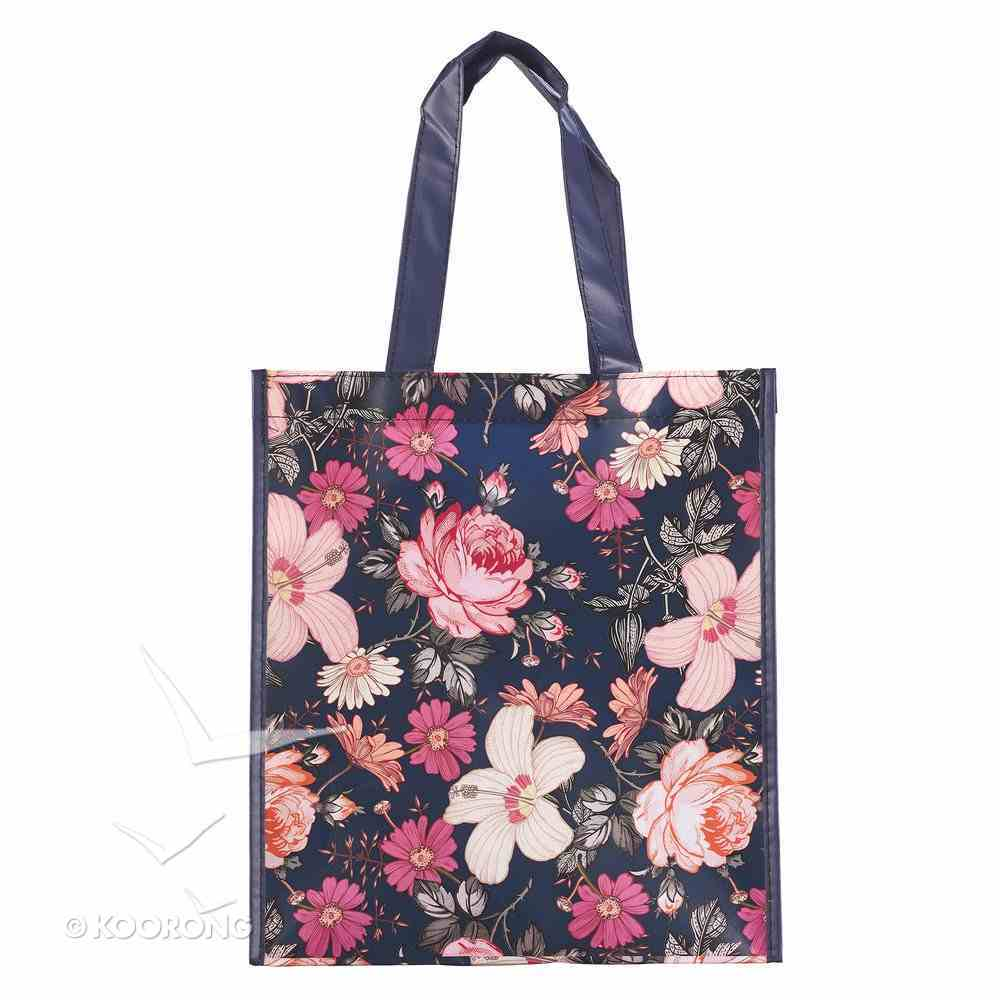 Non-Woven Tote Bag: Mercy Remains, Navy, Pink/Red Floral Soft Goods