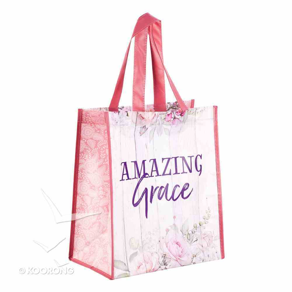 Non-Woven Tote Bag: Amazing Grace, White/Pink Floral Soft Goods