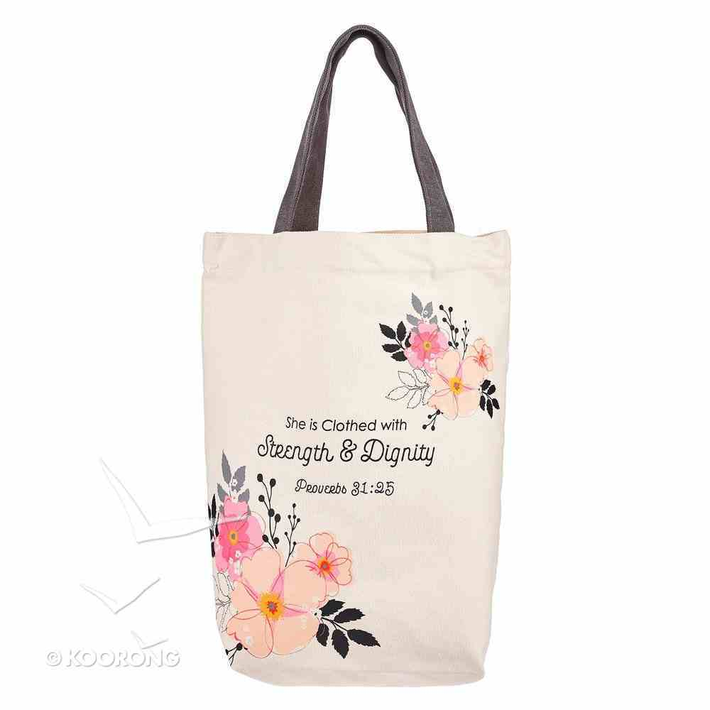 Canvas Tote Bag: Strength & Dignity, Proverbs 31:25 Soft Goods