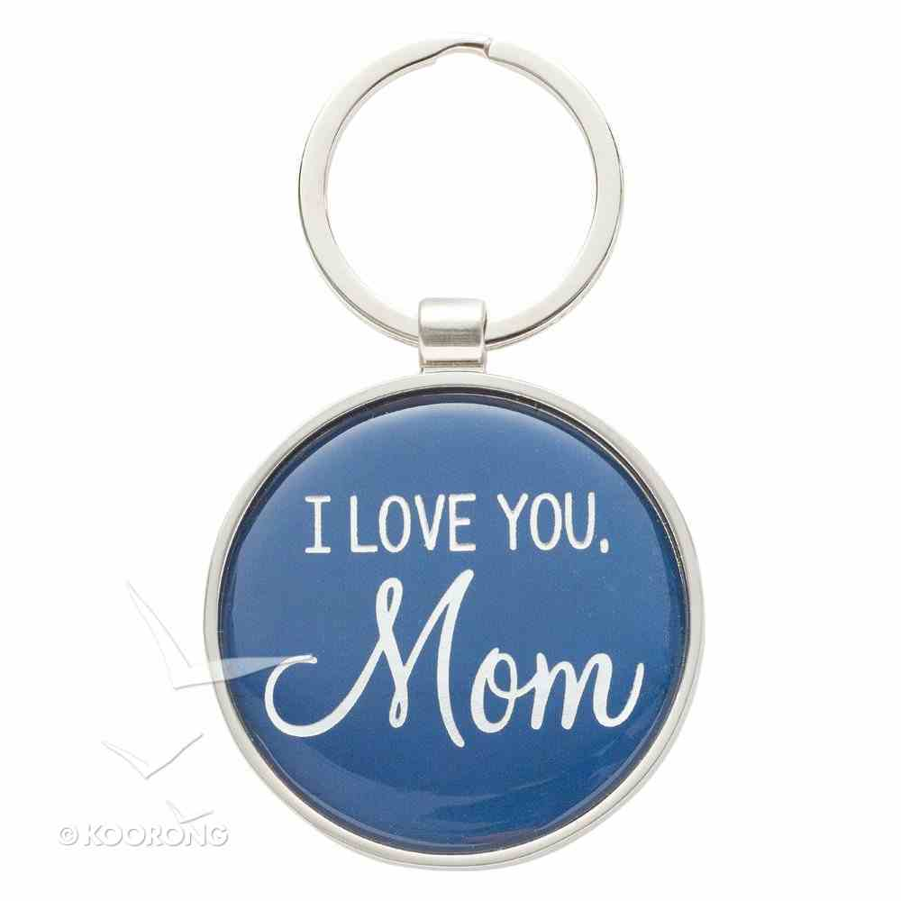Metal Keyring in Tinbox: I Love You Mom, Round, Blue Novelty
