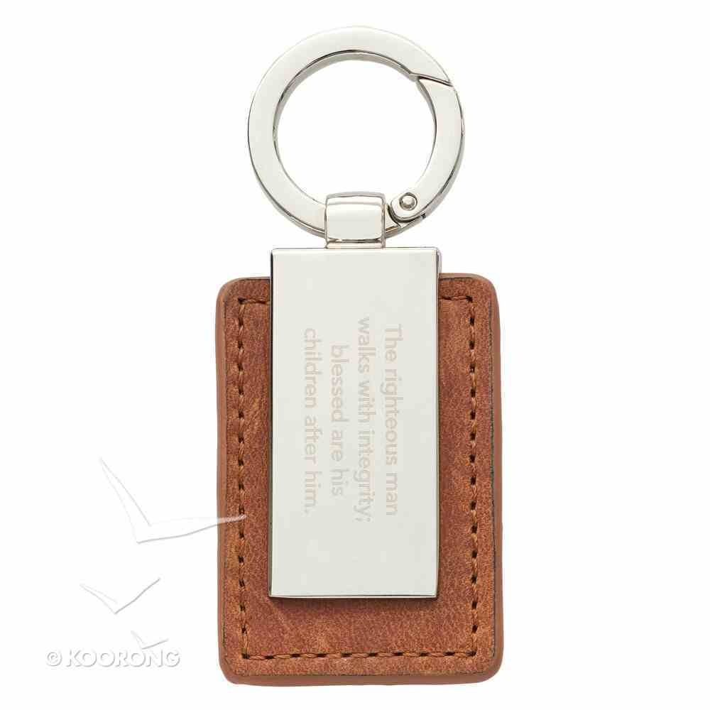 Keyring in Tin: Righteous Man, Brown/Silver (Proverbs 20:7) Novelty