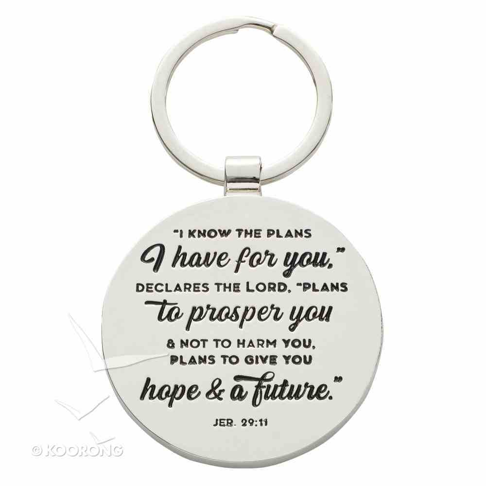 Metal Keyring in Tinbox: Hope & a Future, Blue/White Marble/Gold Etching (Jer 29:11) Novelty