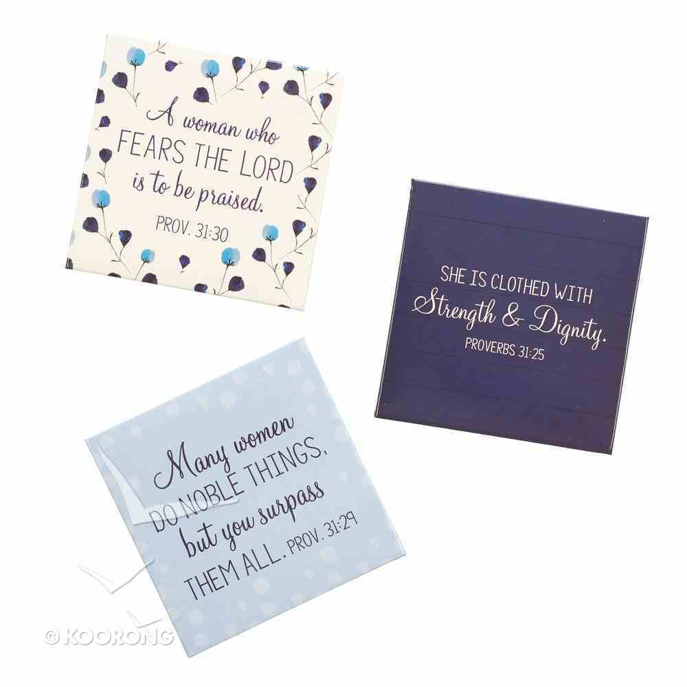 Magnet Set of 3: Proverbs 31:30 Collection, Blue/White Novelty