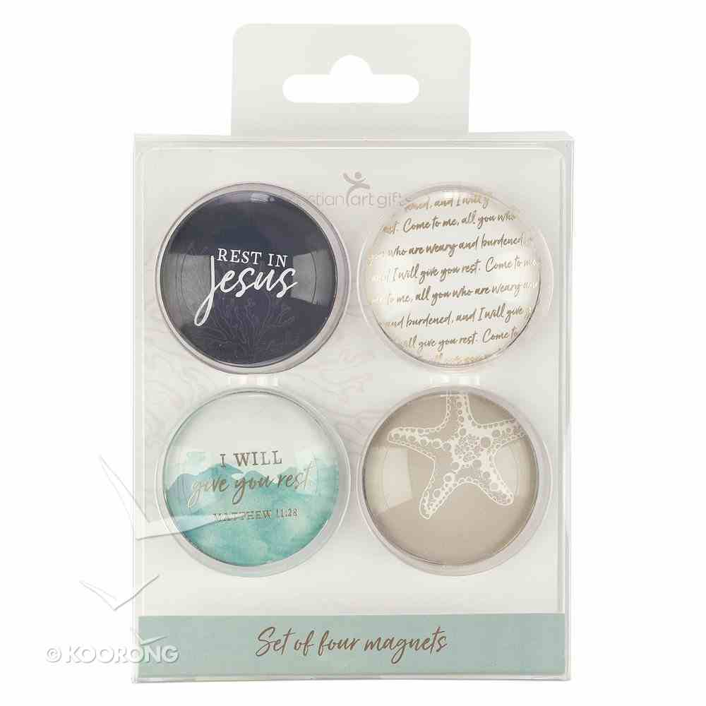 Glass Magnets Set of 4: I Will Give You Rest Novelty