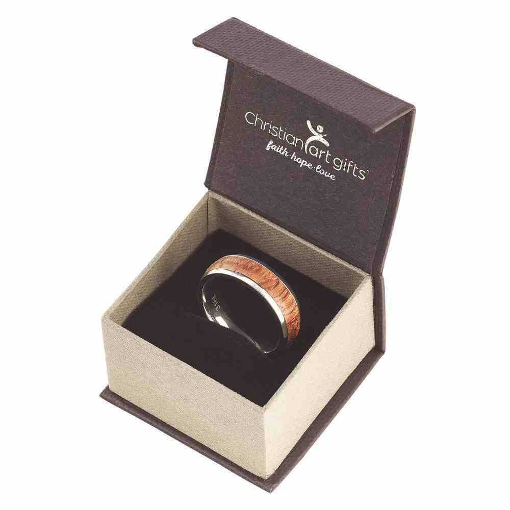 Mens Ring: Size 9, Righteous Man, Brown/Silver (Proverbs 20:7) Jewellery