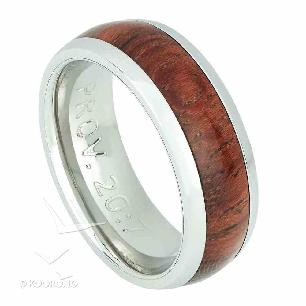 Mens Ring: Size 10, Righteous Man, Brown/Silver (Proverbs 20:7) Jewellery