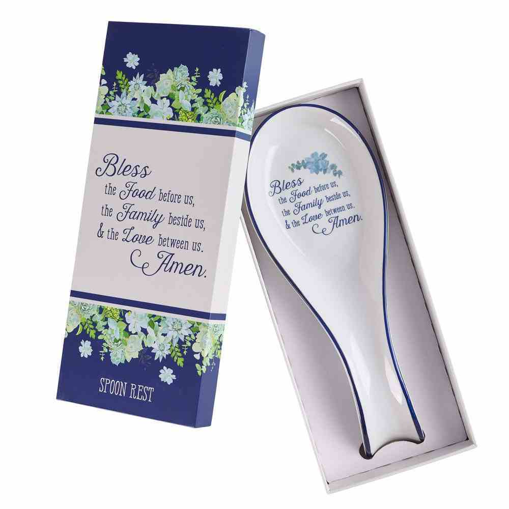 Ceramic Spoon Rest: Our Daily Bread White/ Blue (Matt 6:11) (Our Daily Bread Collection) Homeware