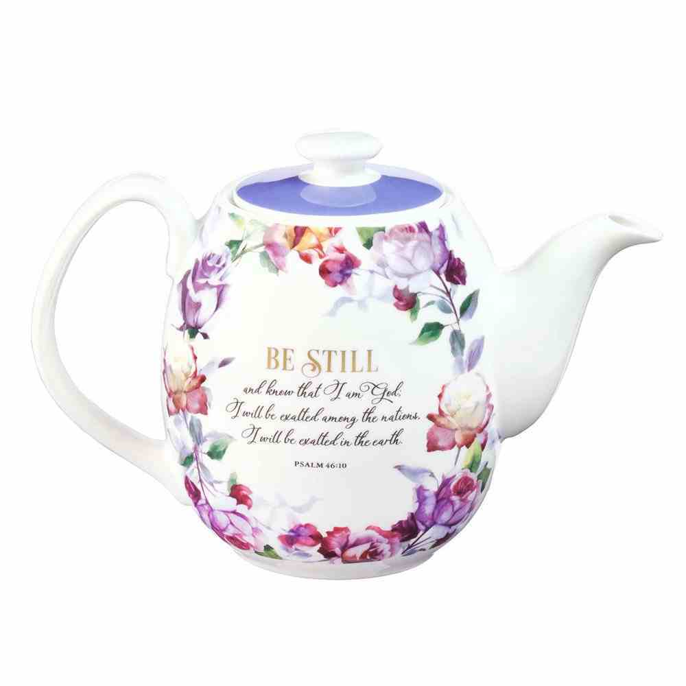 Ceramic Teapot: Be Still and Know Purple Floral (Ps 46:10) (Be Still And Know Collection) Homeware