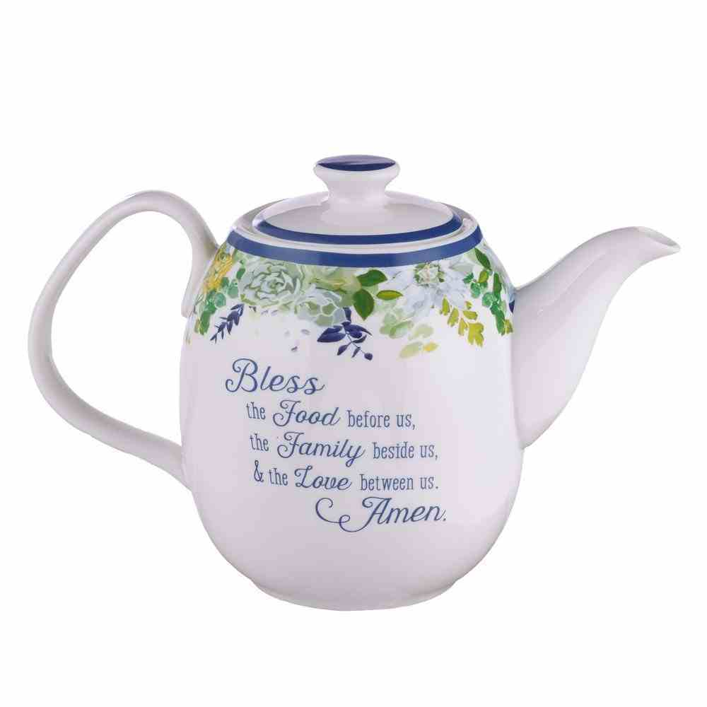 Ceramic Teapot: Our Daily Bread, Blue/White/Floral (Matt 6:11) (Our Daily Bread Collection) Homeware