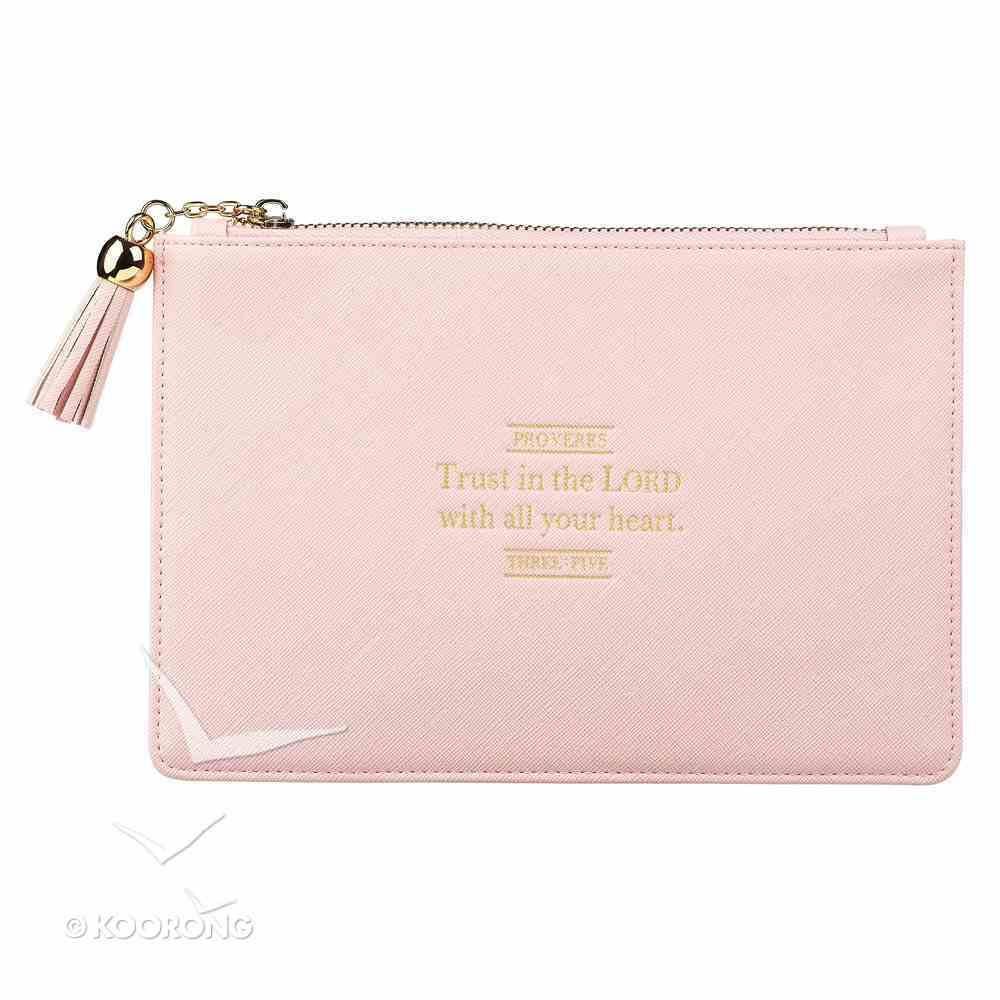 Zipper Pouch: Trust in the Lord, Pale Pink/ Floral Inside Imitation Leather