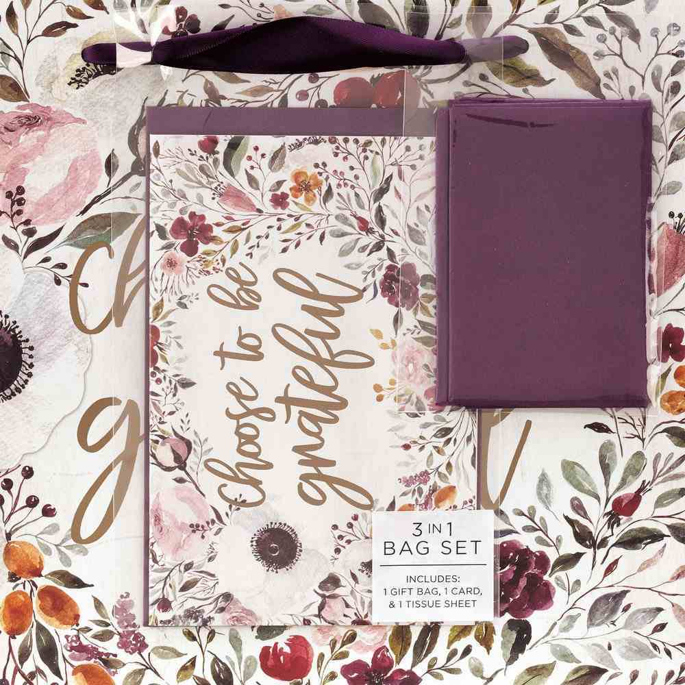 Gift Bag With Card: Grateful, Purple Floral Stationery