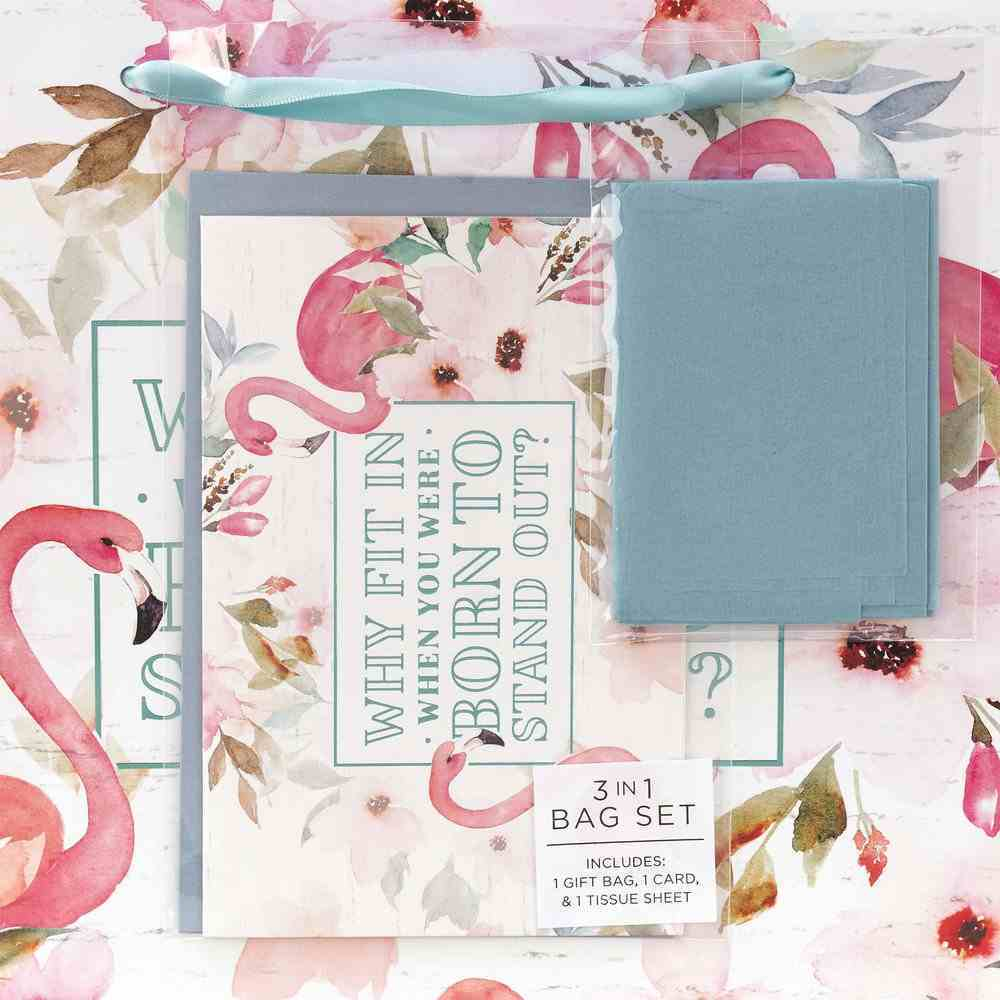 Gift Bag With Card: Why Fit In, Flamingoes, Light Blue Stationery