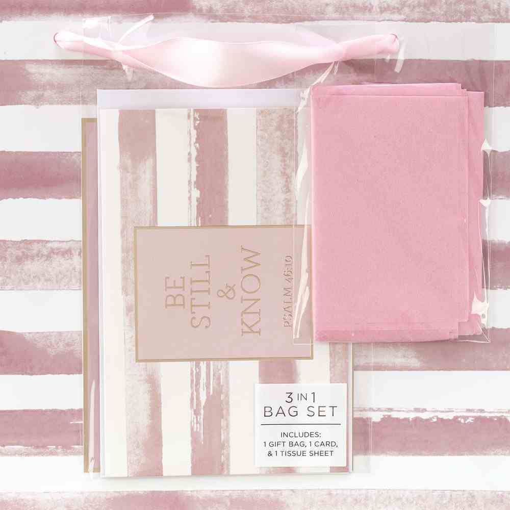 Gift Bag With Card: Be Still and Know, Pink Stripe Stationery