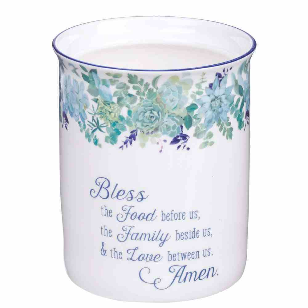 Ceramic Utensil Holder: Our Daily Bread White/ Blue Floral (Matt 6:11) (Our Daily Bread Collection) Homeware
