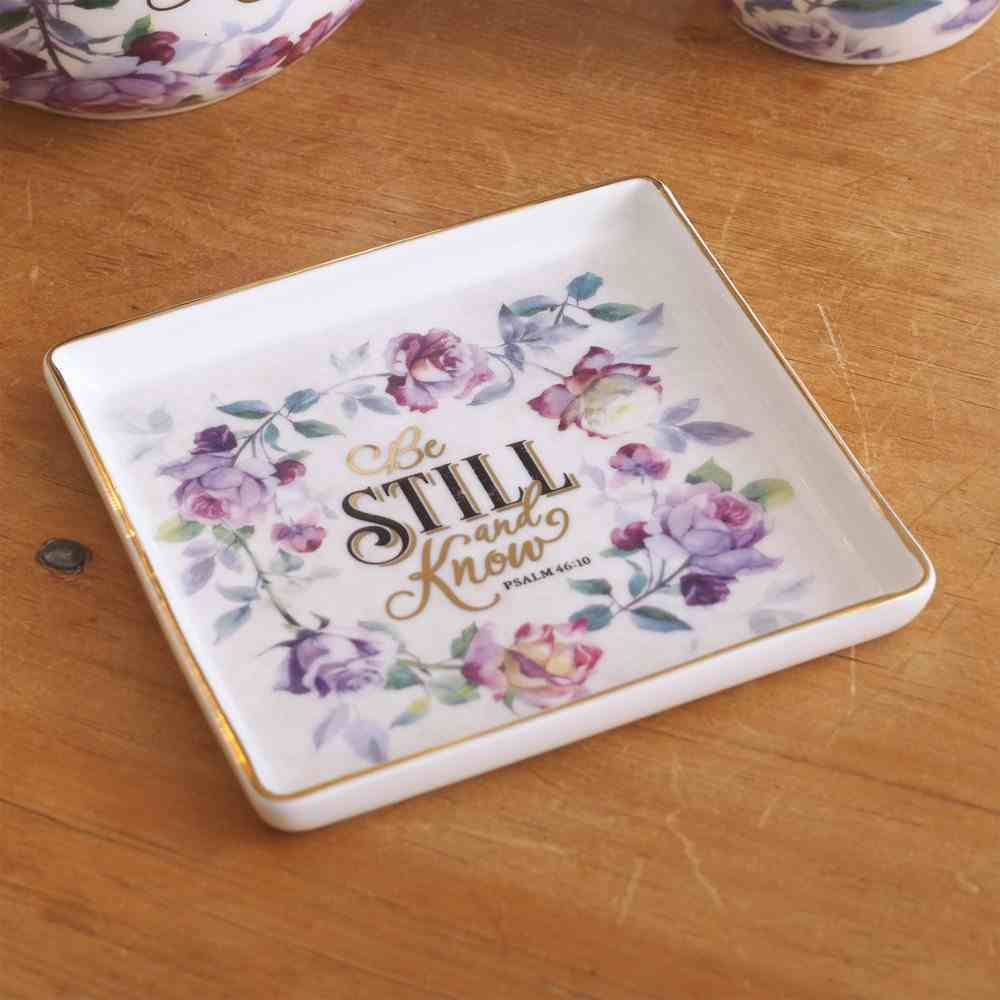 Ceramic Trinket Tray: Be Still & Know, Purple Floral (Ps 46:10) (Be Still And Know Collection) Homeware