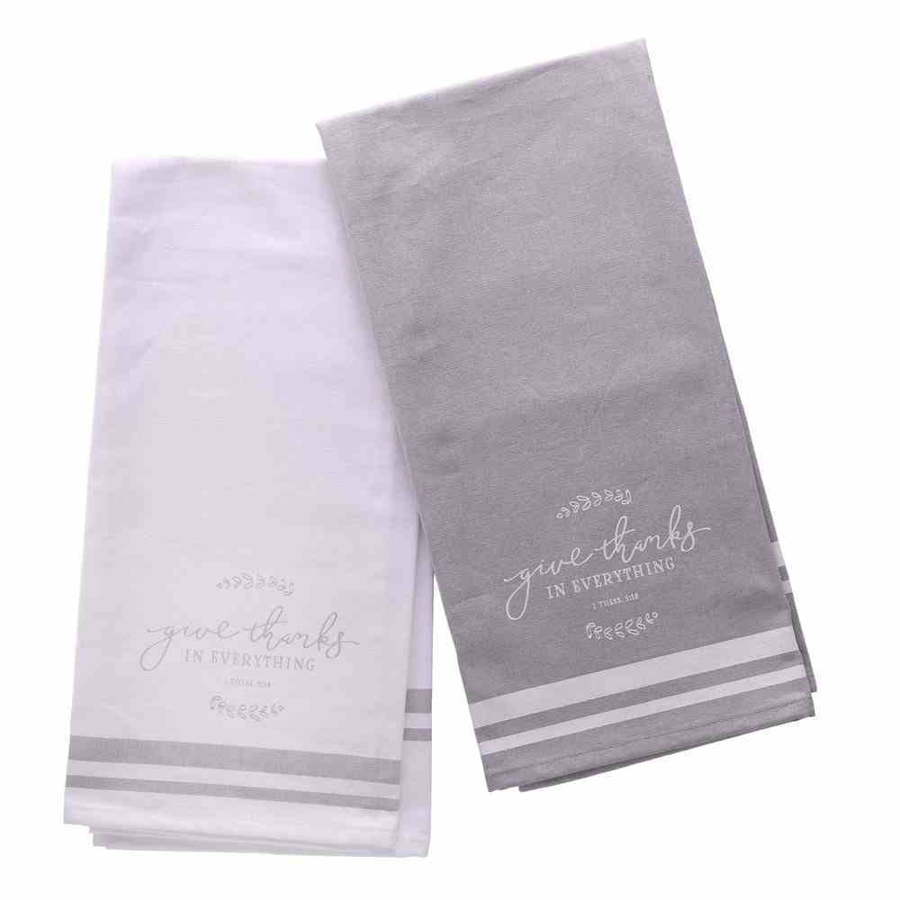Tea Towel Set: Give Thanks Neutral (1 Thess 5:18) (Give Thanks Collection) Soft Goods