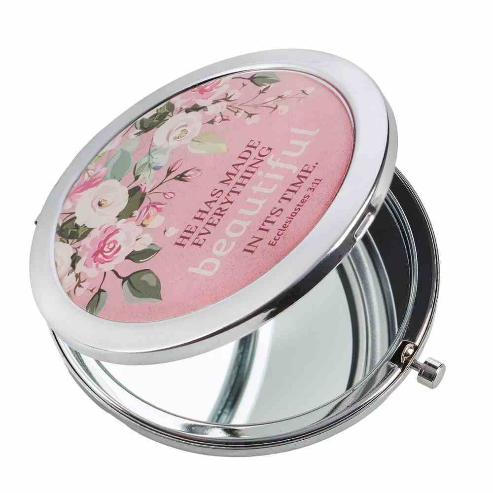 Compact Mirror: He Has Made Everything Pink Floral (Ecc 3:11) Homeware