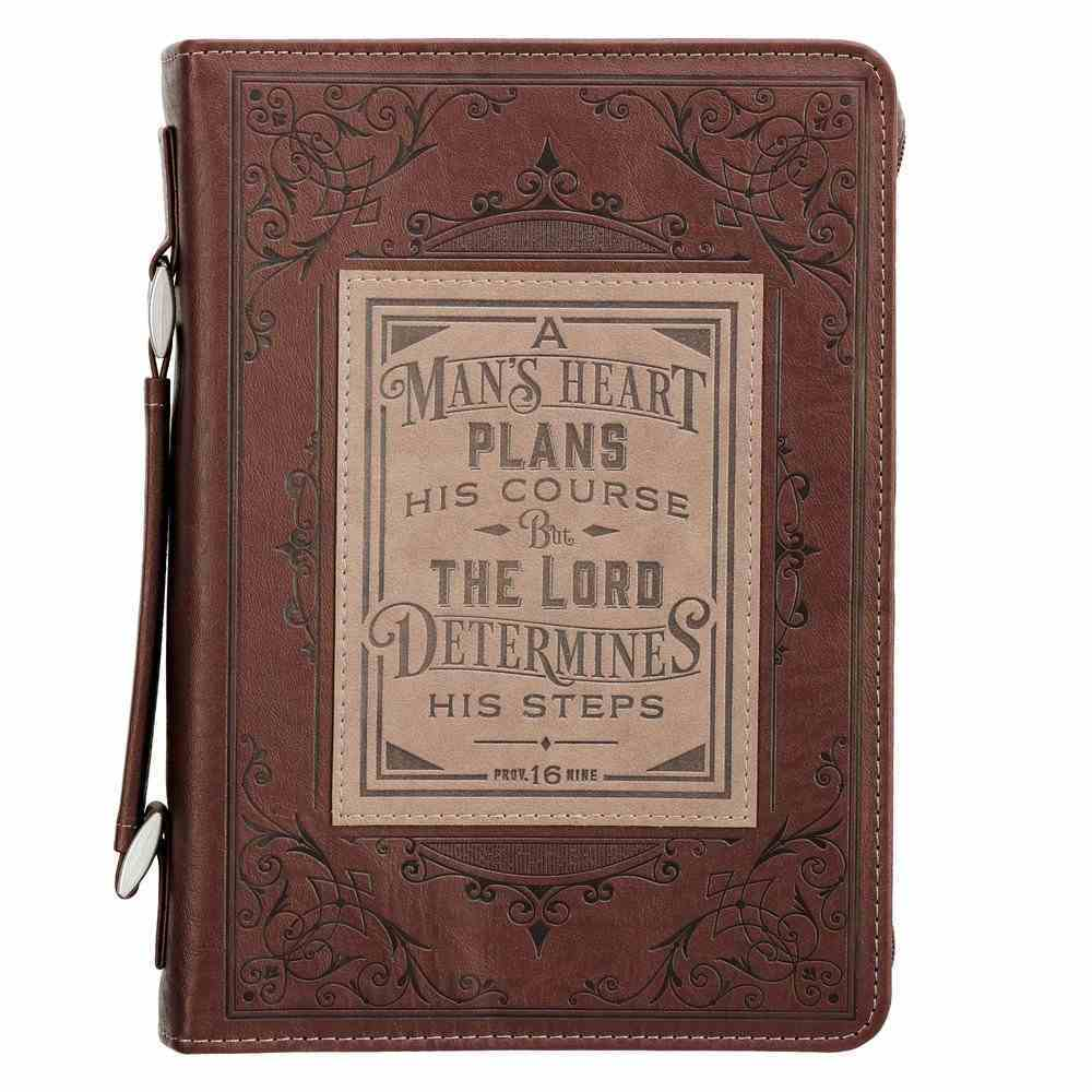 Bible Cover Medium: A Man's Heart Brown (Prov 16:9) (A Man's Heart Collection) Imitation Leather