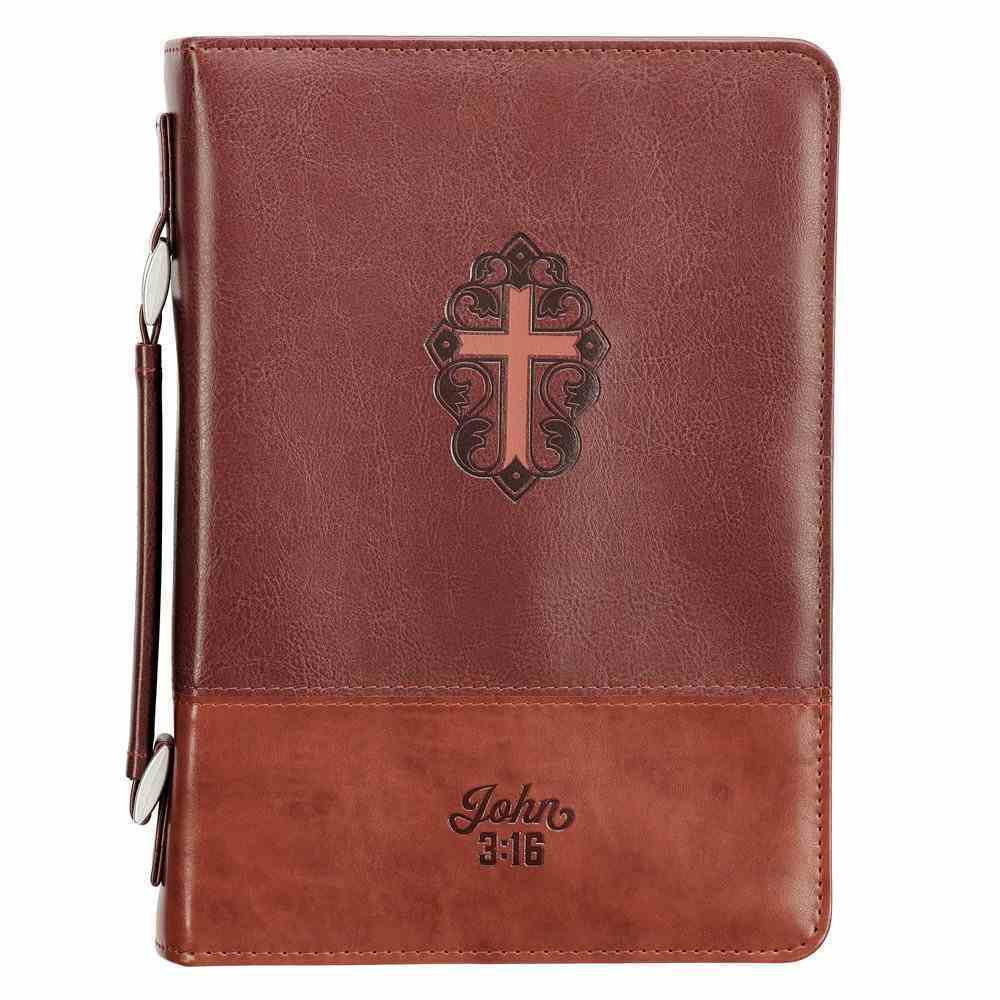 J3: 16  Bible Cover Large  Cross Brown (John 3 16) (John 3 16 Collection) Imitation Leather