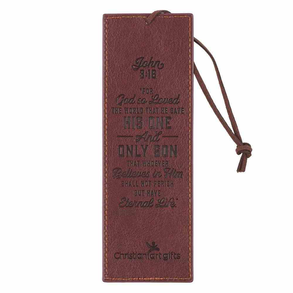 J3: 16  Bookmark With Tassel  Brown Cross (John 3 16) (John 3 16 Collection) Imitation Leather