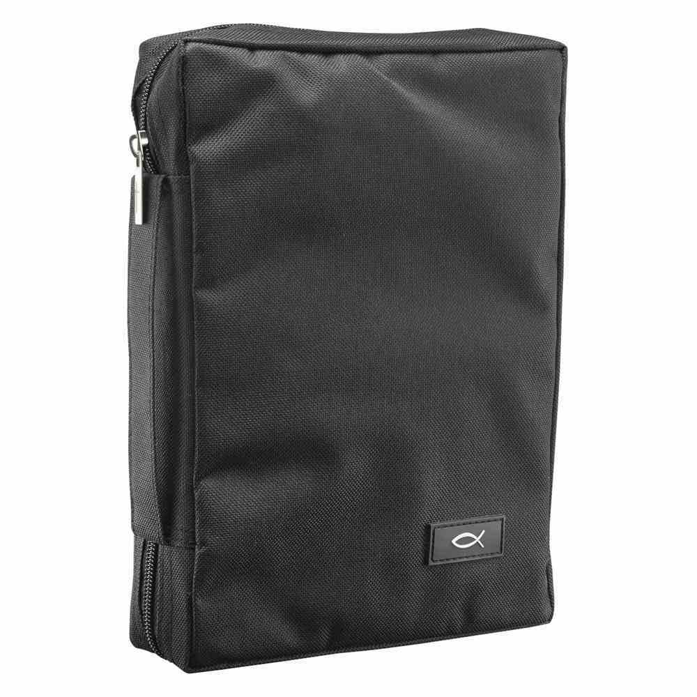 Bible Cover Polyester With Fish Label Black Medium Bible Cover
