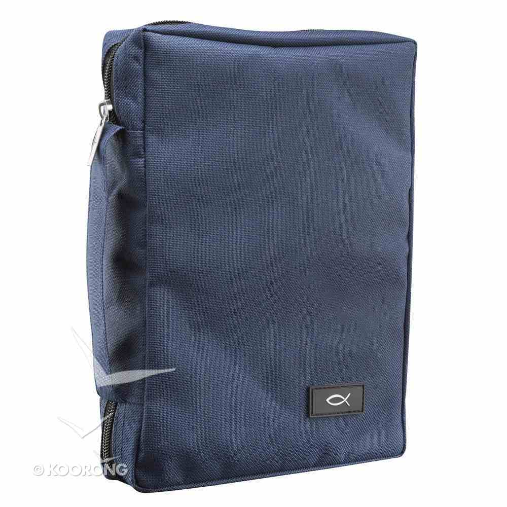 Bible Cover Polyester With Fish Label Navy Blue Large Bible Cover
