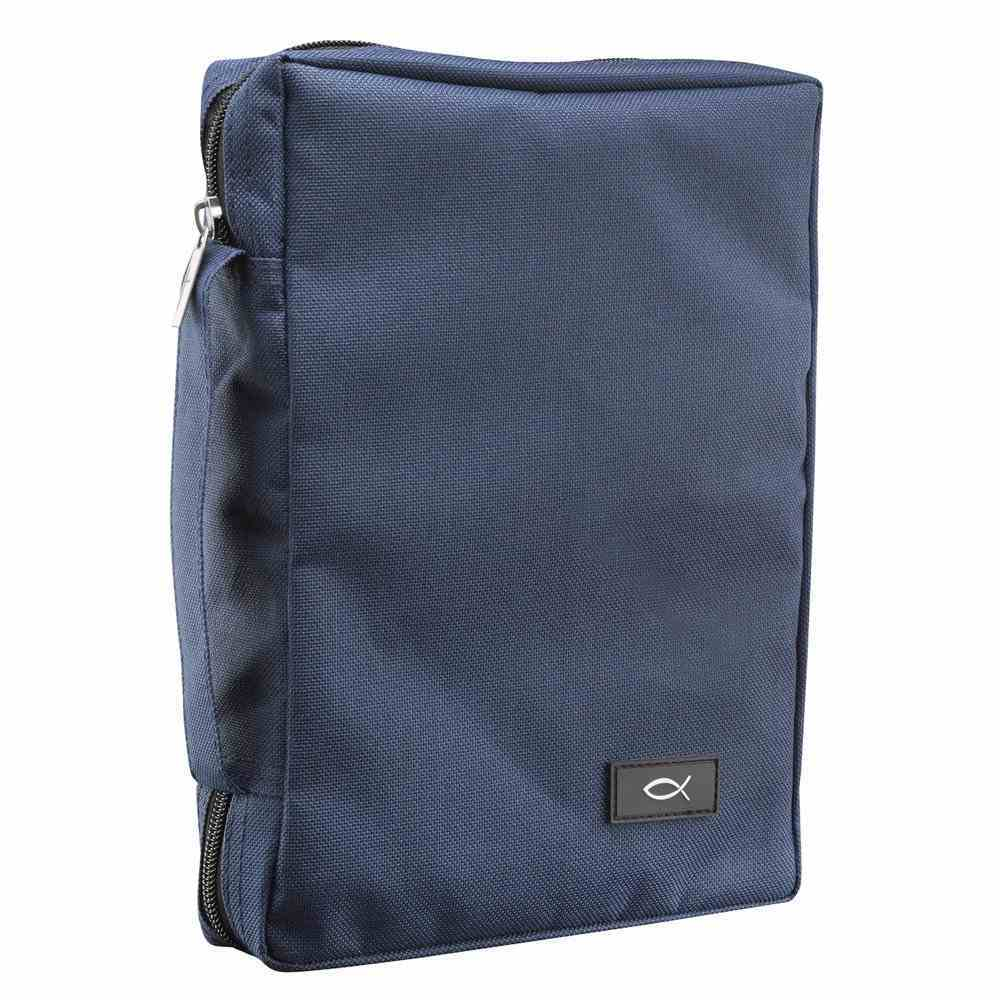 Bible Cover Polyester With Fish Label Navy Blue Medium Bible Cover
