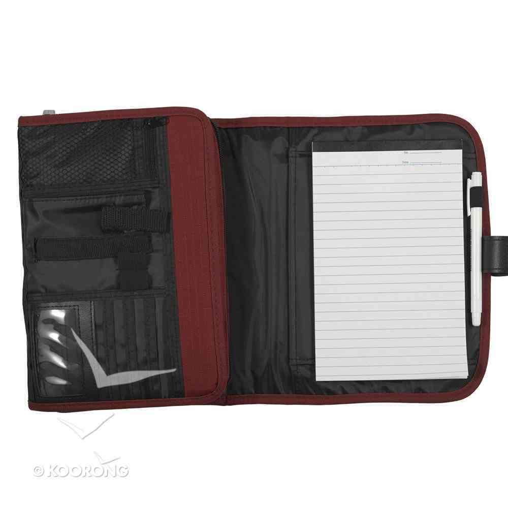 Bible Cover Tri-Fold Organizer Medium Red Polyester Bible Cover