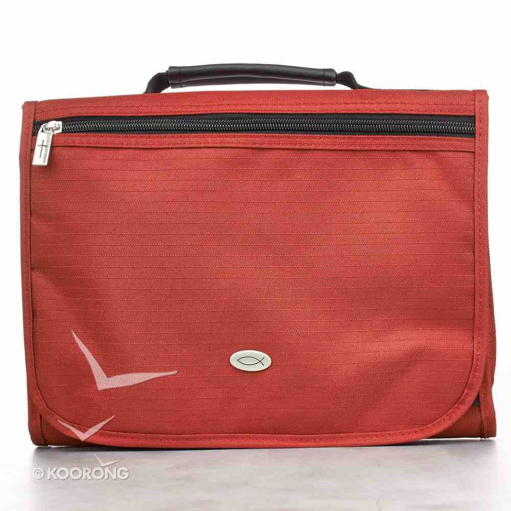 Bible Cover Tri-Fold Organizer Large: Red Polyester Bible Cover