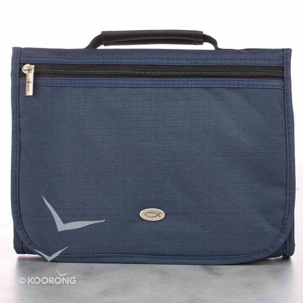 Bible Cover Tri-Fold Organizer Large: Navy Blue Polyester Bible Cover