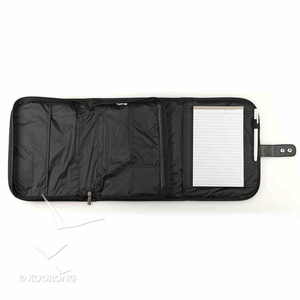 Bible Cover Tri-Fold Organizer Medium Black Polyester Bible Cover