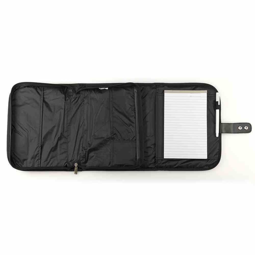 Bible Cover Tri-Fold Organizer Large: Black Polyester Bible Cover