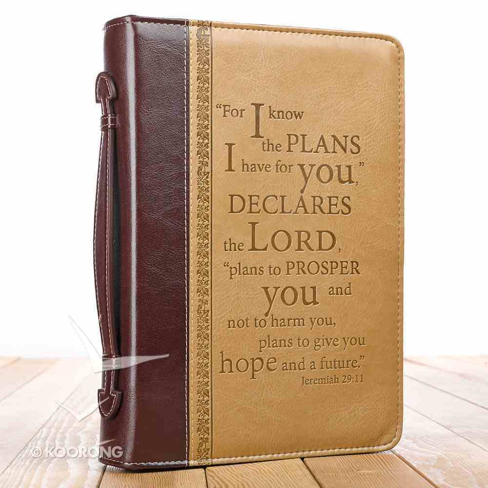 Bible Cover Classic Medium: For I Know the Plans....Burgundy/Sand (Jer 29:11) Bible Cover