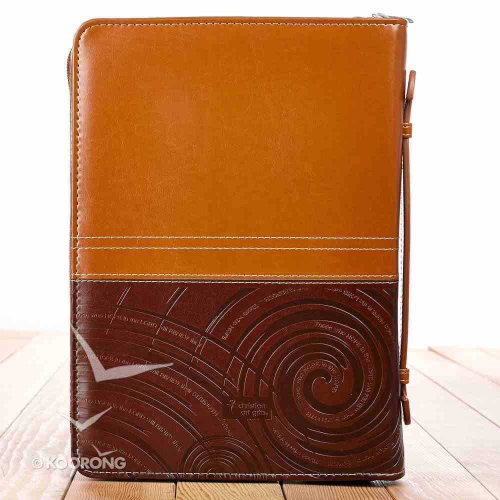 Bible Cover Isaiah 40: 31 Brown/Tan Medium Two-Tone Luxleather Imitation Leather