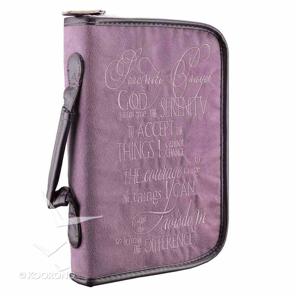 Bible Cover Embroidered Suede Medium: Serenity Prayer Purple/Brown Trim Bible Cover