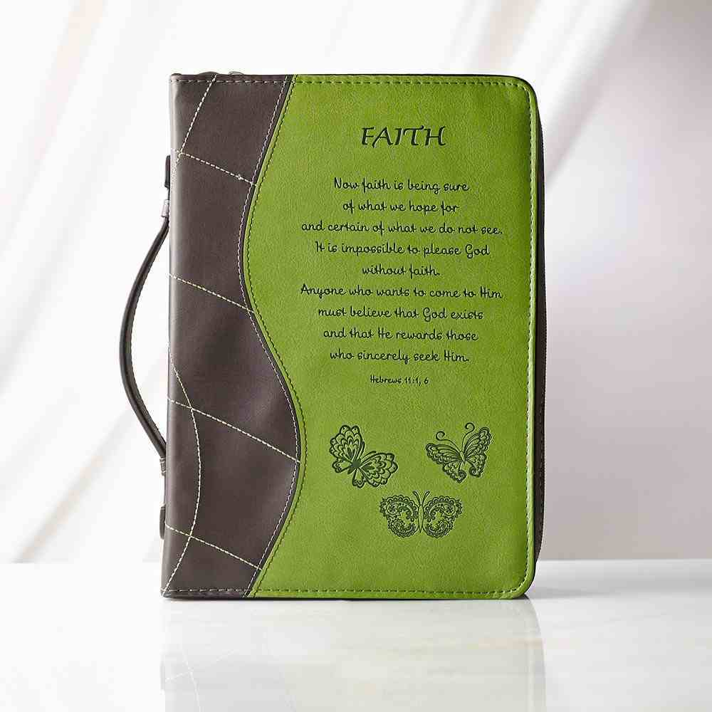 Bible Cover Fashion Trendy Large: Faith Green/Brown Hebrews 11:1 Luxleather Imitation Leather