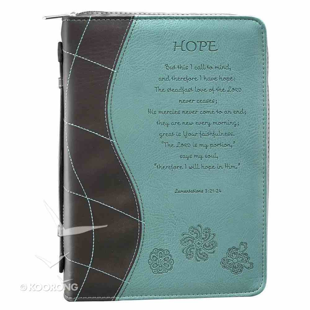 Bible Cover Fashion Trendy Large: Hope Blue/Brown Lamentations 3:21-24 Luxleather Imitation Leather