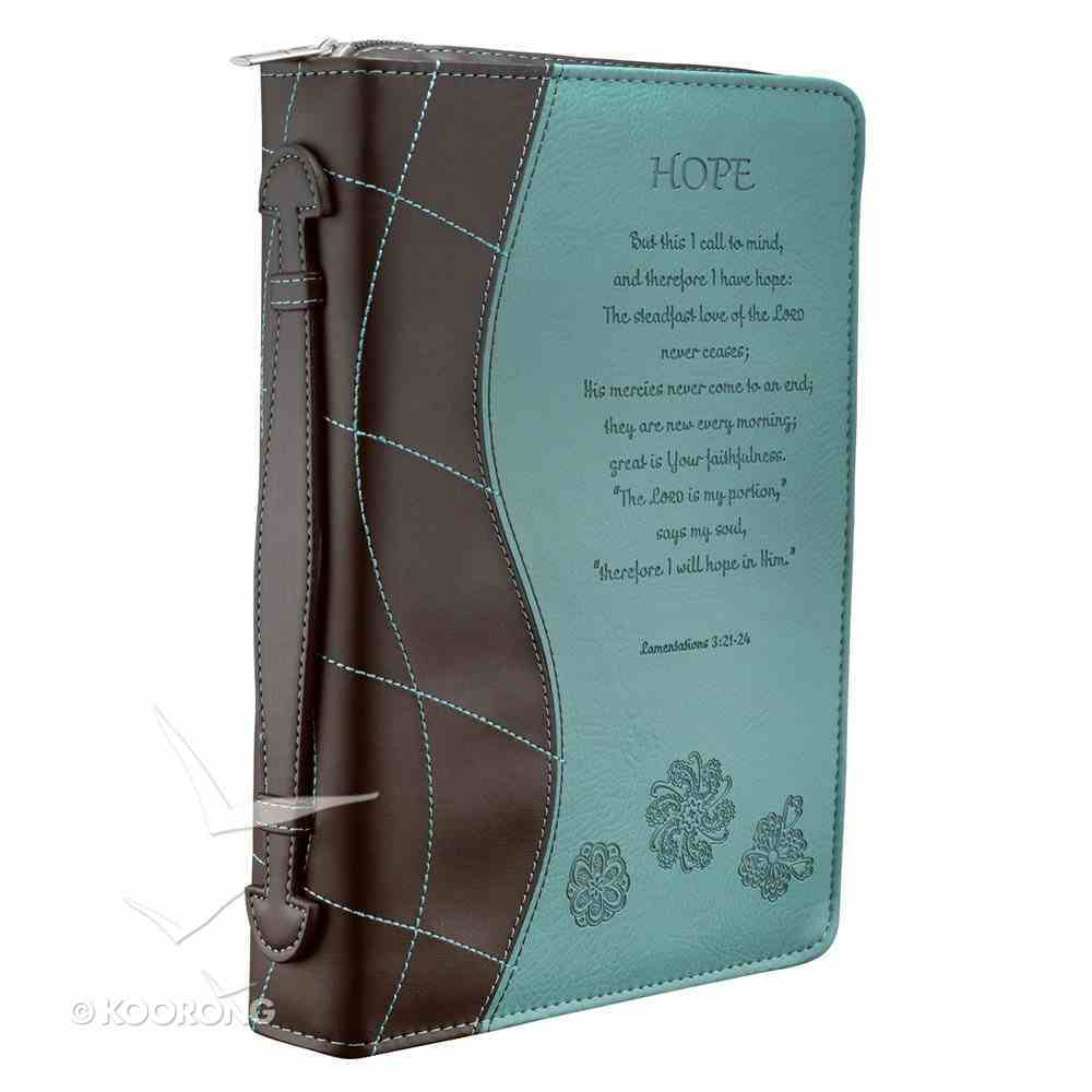 Bible Cover Fashion Trendy Medium: Hope Blue/Brown Lamentations 3:21-24 Luxleather Imitation Leather